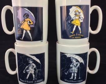 Set Of 4 Vintage Morton Salt Mugs New In Box