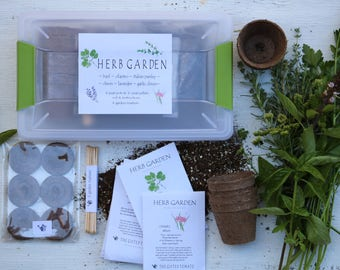 Herb Garden Kit, Gardening Gift Kit, Organic Herb Seeds, 6 Packets Of Herb