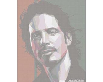 Cross stitch pattern Chris Cornell pop portrait Soundgarde Audioslave - PDF instant download.