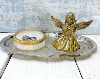 Brass Angel Bell Ring Holder Dish on Silver Plate Tray Vintage Vanity Tray NIght Stand Tray Wedding Ring Holder Wedding Gift GIft for Bride