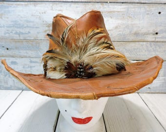 Leather Hat Leather Patchwork Hat 1970s Brown Leather Floppy Hippie Woodstock Gypsy Hat made Mens or Womens Fashion Feather Headband