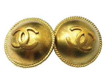 Chanel Vintage Bronze CC Round Clip on Earrings