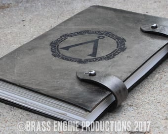 Stargate inspired Sketch Journal 6x9 - 120 pages - Hand Bound - Laser Etched - Smoke Black - Earth 7th symbol