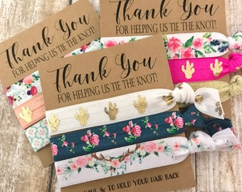 Bridesmaids Gift  Hair Ties   Thank you for helping us tie the knot   Wedding Favors - Hair Tie Favor - Bridal Party Favors - The Knot