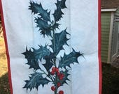 Vintage Holly Botanical Print Tea Towel