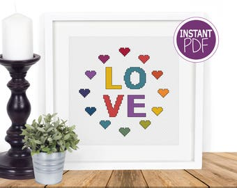 Love Cross Stitch Pattern - Instant PDF -  Love Counted Cross Stitch Chart by Peppermint Purple