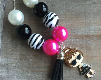 Breakfast at Tiffany's-style beaded ball chain necklace with chic girl pendant, ready to ship! (Style 405)  Hot pink, black and zebra print