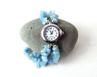 Aquamarine Watch - Aquamarine Quartz Chips Bracelet - Stretch Elasticated Gemstone Watch Bracelet