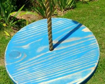 Wood Tree Swing- Distressed Blue Disc