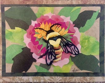 Spring Bee- Cut Paper Art ORIGINAL