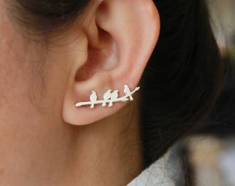 Sparrows on Twig Earrings / Pair - Sterling Silver Ear Cuffs Earrings - Rose Gold Plated Solid Silver