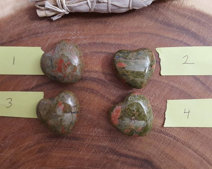 Unakite Heart ~ One Reiki infused 30mm gemstone heart