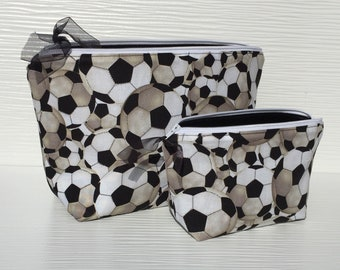 Makeup Bag Set Gift for Soccer Players, Choice of Sizes, Travel Bag for Women Gifts for Soccer Fan, Soccer Mom Travel Cosmetic Bag Set
