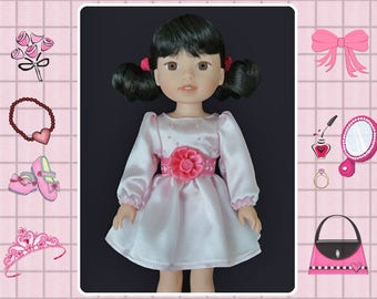 14 / 14.5 inch doll clothes / pink party dress / Mine to Love 14 / Wellie Wishers / American Girl / Melissa and Doug