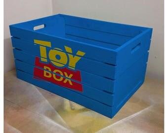 Wooden Toy Story Box - Custom Handpainted Stencil Art Kids Storage Fan Art