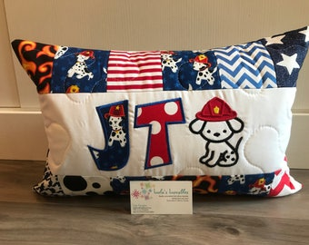 Fireman puppy pillow, hero, personalized pillow case, 12x18 inches