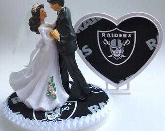 Wedding Cake Topper Oakland Raiders Football Themed Heart Turf Groom's Top Pretty Bride Dancing Couple Unique Centerpiece Gift Idea w/Garter