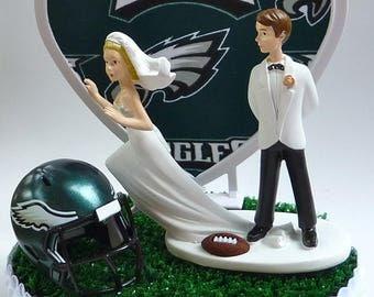 Wedding Cake Topper Philadelphia Eagles Football Themed Runaway Bride Humorous Funny Sports Fans w/ Bridal Garter Groom's Top Green Turf Fun