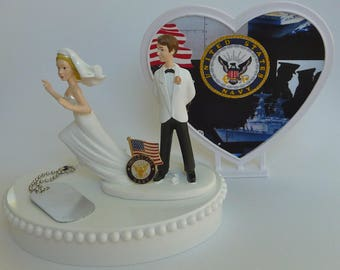 Wedding Cake Topper U.S. Navy Themed Runaway Bride Heart Flag Dog Tag Humorous Funny w/ Bridal Garter Groom's Top Shower Reception Gift Idea