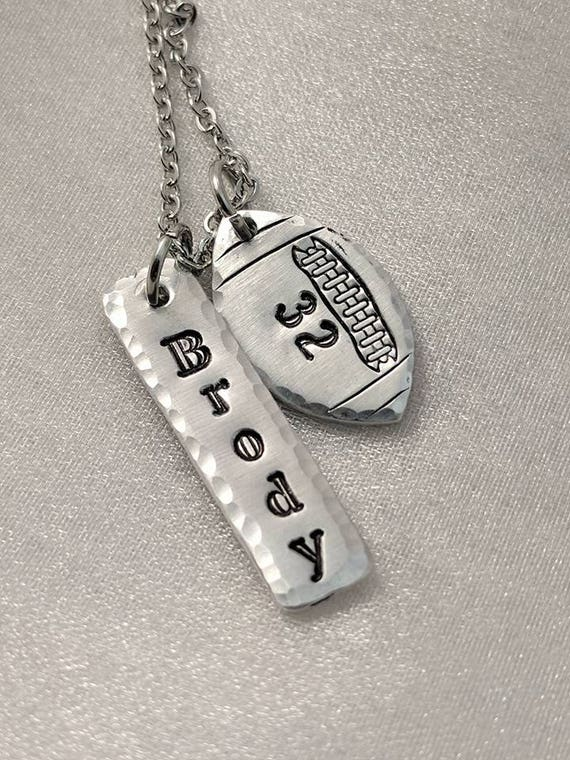 Football Necklace - Customized with Name and Number - Team Support - Football Mom Necklace - Jewelry for Mom -Personalized Football Jewelry