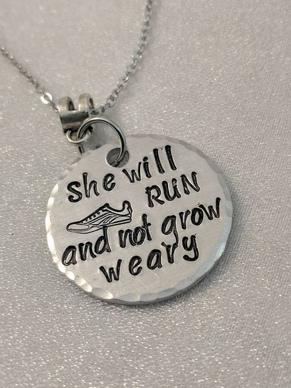 She Will Run - Isaiah 40:31 - Inspirational Necklace - Runner Jewelry - Marathon Necklace - Biblical Jewelry - Gift for Her - Metal Stamped