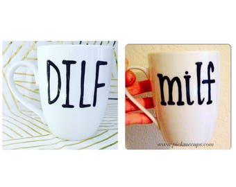 MILF coffee mug funny coffee mug- MILF- DILF Mother's Day gift  Father's Day gift- gifts mugs set for mom and dad