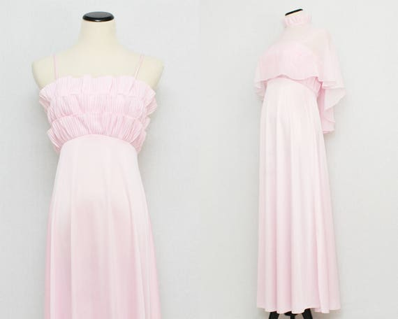 Vintage 1970s Pink Hostess Dress and Cape - Size Small