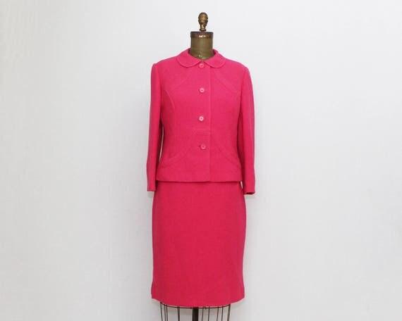 Vintage 60s Hot Pink Wool Skirt Suit - Size Medium