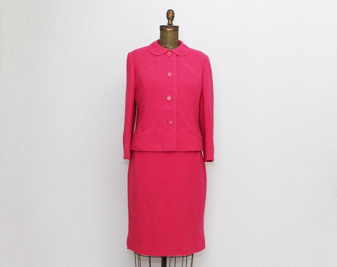 Vintage 60s Hot Pink Wool Skirt Suit - Size Medium