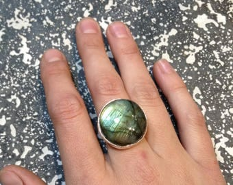 Large Labradorite Stone Recycled Sterling Silver Ring