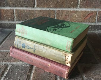 Antique Book Set // Decorative Books // Old Book Set // Vintage Book