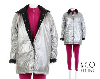 90s Vtg Silver Metallic Jacket Reversible Black Quilted Puffer Coat Y2K Cyber Goth Club Kid Vintage Clothing Women's Size MEDIUM / LARGE