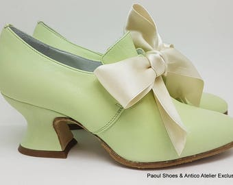 18 century shoes -PASTEL GREEN- 730_70P-  Marie Antoinette shoes - 18 th.- scarpa settecento donna pastel pink 3093