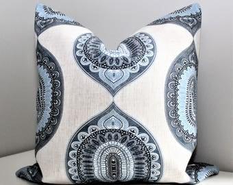 Luxury Pillow Cover - Blue & Cream Linen Decorative Throw Pillow, Modern Transitional Designer Zippered Fabric Pillow Cover