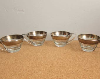 Vintage Mid Century Dorothy Thorpe Silver Band Flat Tea Cups - Set of 4 Crystal Sterling Silver MCM Cups (2 sets available)