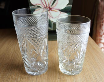 2 Cristal D'Arques J.G. Durand Crystal Glasses Tumblers 'Antique' Pair / 10 and 12 oz