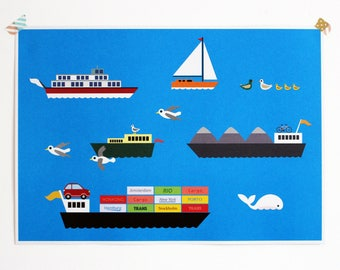 Poster inland waterway transport | in A3 format