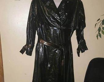 FREE SHIP BONUS Vintage 80s womens striped Windbreaker Raincoat Jacket trench coat sz medium 10 12
