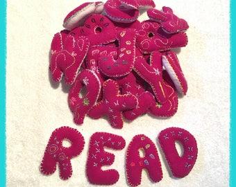 Dark pink alphabet set