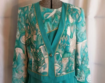 Vintage pant suit 80s turquoise pant suit City Girl petites abstract design pant suit size 12