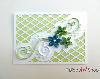 Quilling Wedding Card in Teal, Green, Pale Yellow and White; Handmade Wedding Invitation
