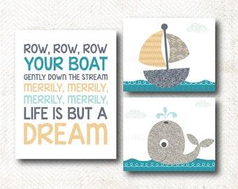 Row Row Row your boat, Nursery Art, Art Print Set