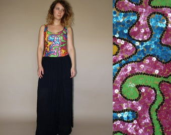 90's vintage women's colorful sequined abstract patterned evening coctail top
