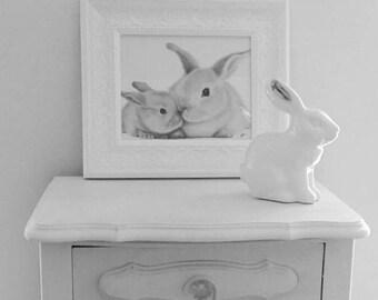 Black and White Bunny Art Print - Nursery Art Print - Mother and Baby Bunny