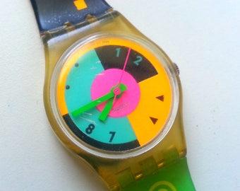 Rad Vintage 80s 90s Swatch Watch Women's  Neon Color Block New Wave -- Not Working