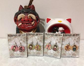 Kokeshi earrings, Japan, handmade by polymer clay