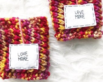 Matching Coffee Cozies, Pair of Handknitted To Go Cup Cozies, Two Love Mug Warmers, Valentine's Day Knitted Cup Cozies