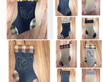 Christmas Stockings Denim Corduroy Khaki and Flannel Many Options!