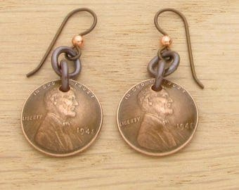 For 70th: 1948 Dark Copper US Penny Earrings 70th Birthday or 70th Anniversary Gift Coin Jewelry