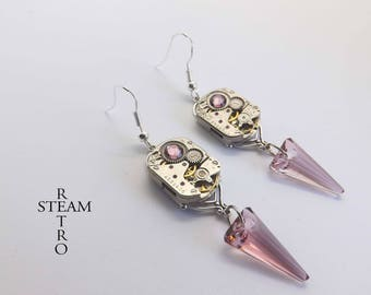 steampunk earrings - art deco earrings - swarovski earrings - antique rose earrings - steampunk art deco - neo victorian earrings - gothic
